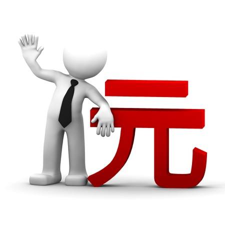 3d businessman with renminbi currency symbol. Isolated photo