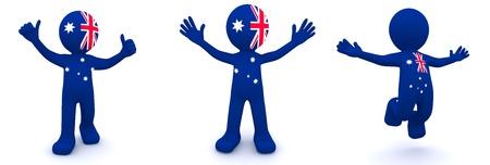 personaje 3D con textura con bandera de Australia aislada sobre fondo blanco
