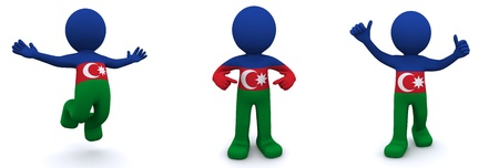 azerbaijanian: 3d character textured with flag of Azerbaijan isolated on white background