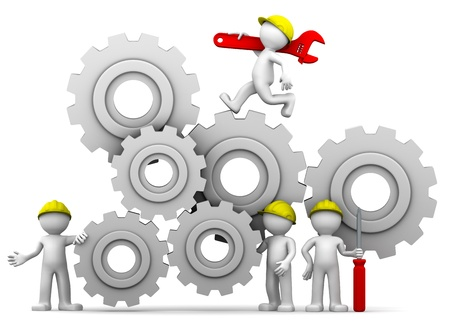 Workers team adjusting gear mechanism. Isolated Stock Photo - 9332379