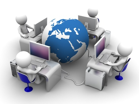 Global computer network. Conceptual image on white background photo