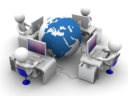 computadora caricatura: Red inform�tica mundial. Imagen conceptual sobre fondo blanco Foto de archivo