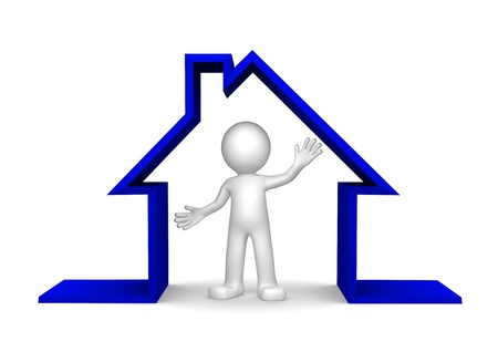small roof: Happy 3d character inside house on white background