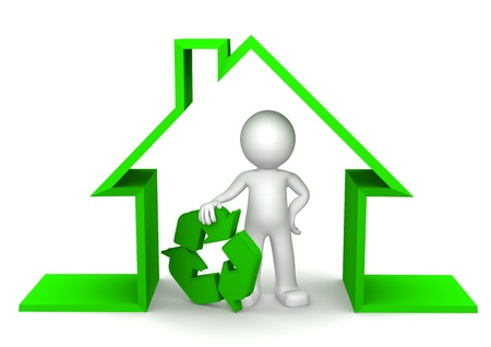 Happy 3d character inside eco house holding recycle symbol on white photo
