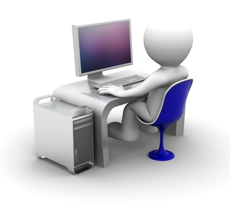 computer chair: 3d character Working on computer. On white background Stock Photo