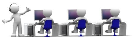 Equipo de expertos en inform�tica en lugar de trabajo. Concepto de centro de soporte. Sobre fondo blanco Foto de archivo
