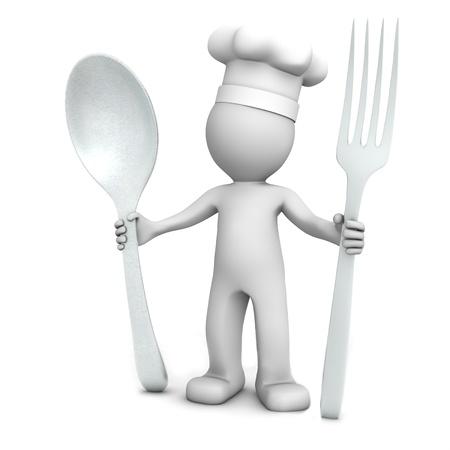 Chef 3D con cuchara y tenedor sobre fondo blanco