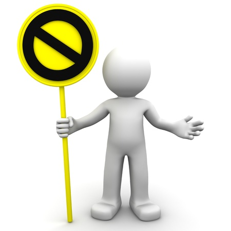 3d character with yellow STOP sign on white background photo