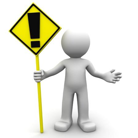 alerta: firmar un personaje 3D con alerta amarilla sobre fondo blanco Foto de archivo