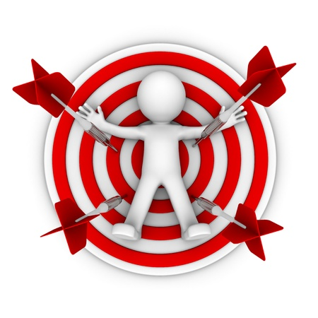 bullseye: 3d character lay down on a big archery target. isolated on whuite background Stock Photo