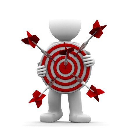 business goal: 3d character holding a red archery target. Conceptual illustration Stock Photo