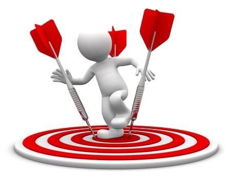 goals: 3D Charakter Standing auf dem Brett Bogenschie�en. Konzeptionelle Business Illustration. Isoliert auf weiss