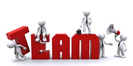 marioneta: Trabajo en equipo. Ilustraci�n conceptual del negocio. Fondo blanco