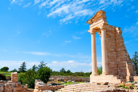 greek column: Ruins of the Sanctuary of Apollo Hylates - main religious centres of ancient Cyprus and one of the most popular tourist place Stock Photo
