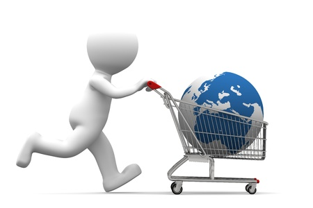 3d person carrying shopping cart with globe. Isolated on white background Stock Photo - 9624668