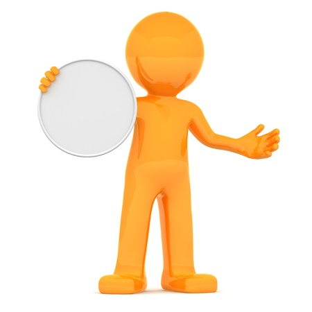 orange man: 3d character holding blank board. Isolated on white background