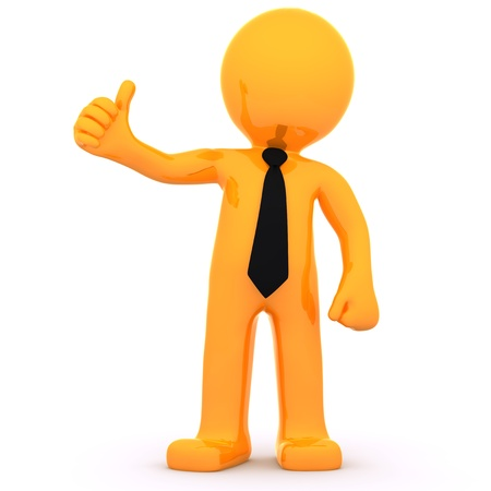 orange man: 3d Businessman showing thumbs up. Isolated on white background Stock Photo