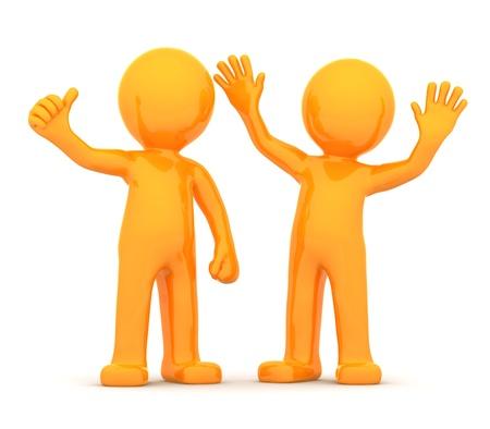 Paar Spaß happy orange 3D Personen auf gerendert weisser Hintergrund  Standard-Bild