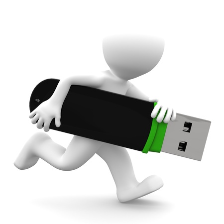 programm: 3D persona che esegue con flash drive USB. Isolato su sfondo bianco