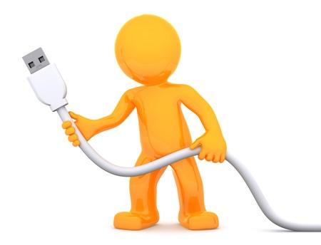 3D persona cable USB. Aislados en fondo blanco