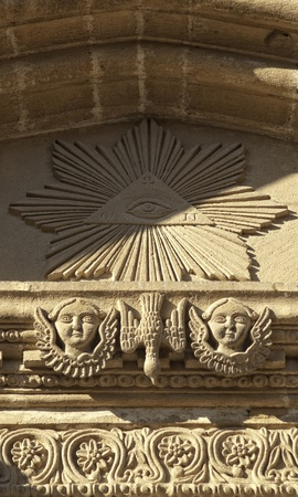 Stone carving on the wall of Orthodox Church  photo