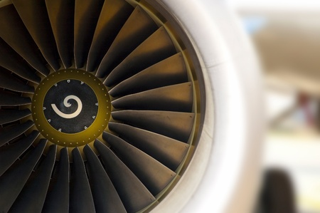Turbine of airplane, closeup Stock Photo