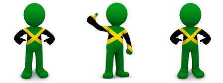 jamaican man: 3d character textured with flag of Jamaica isolated on white background