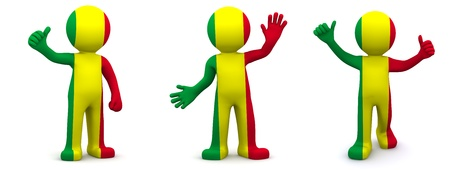 3d character textured with flag of Mali isolated on white background  photo