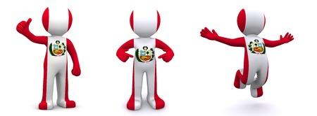 bandera peru: personaje 3D con textura con la bandera de Per� aislada sobre fondo blanco