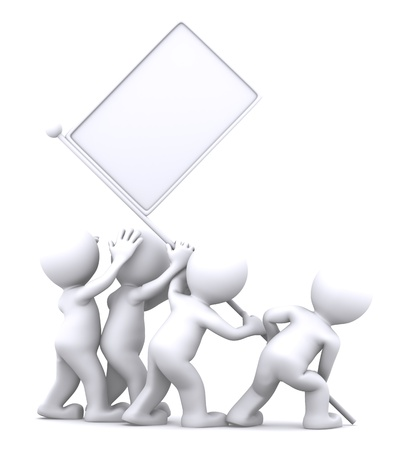 Grupo de rising bandera en blanco. Concepto de publicidad. Aislado en fondo blanco