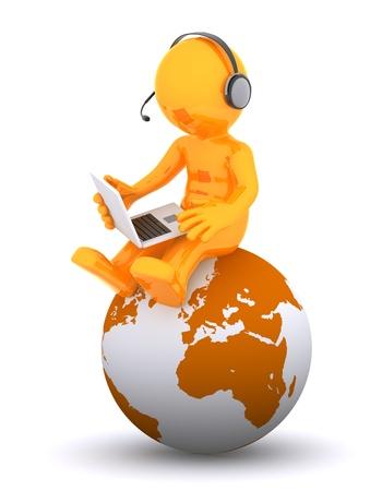 Operador de teléfono de soporte sentada en globo de la tierra. Aislado en fondo blanco