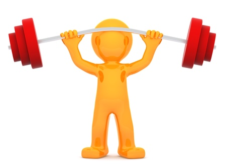aerobic: Sportsman with barbell. Isolated on white background