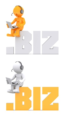 suffix: 3d character sitting on .biz domain sign. Isolated on white