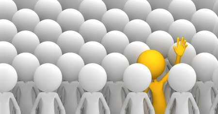 uniqueness: Concept of uniqueness. Orange character standing out from the crowd