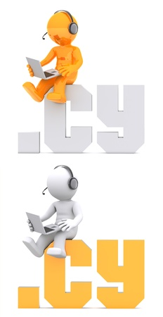 suffix: 3d character sitting on .CY domain sign. Isolated on white