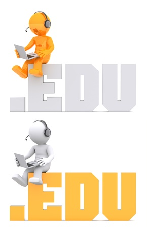 3d character sitting on .EDU domain sign. Isolated on white photo