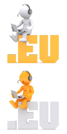 suffix: 3d character sitting on .EU domain sign. Isolated on white