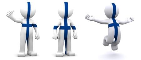 finland�s: personaje 3D texturado con bandera de Finlandia aislada sobre fondo blanco