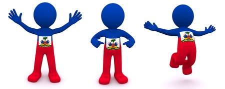port au prince: 3d character textured with flag of Haiti isolated on white background