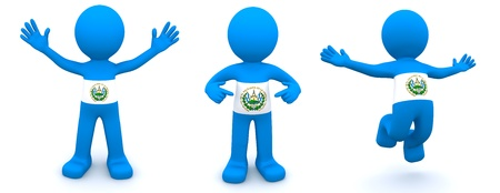 el salvador: 3d character textured with flag of El Salvador isolated on white background
