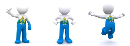 marino: 3d character textured with flag of San Marino isolated on white background