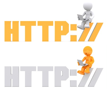 3d character sitting on HTTP sign. Isolated on white Stock Photo - 9989434