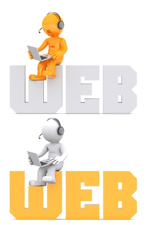 3d character sitting on WEB domain sign. Isolated on white Stock Photo - 9989459