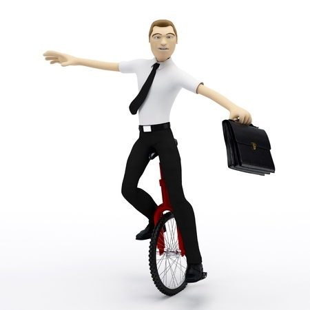 Businessman balancing on unicycle. Conceptual business illustration. On white background illustration