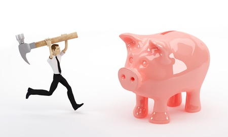 desperation: Business man about to break his piggy bank with a hammer. Isolated on white