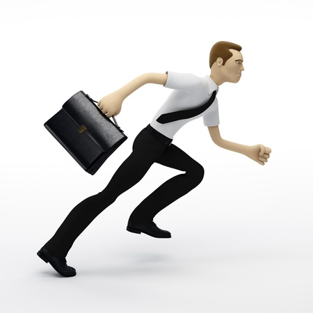 Running businessman with a briefcase. Isolated on white background photo