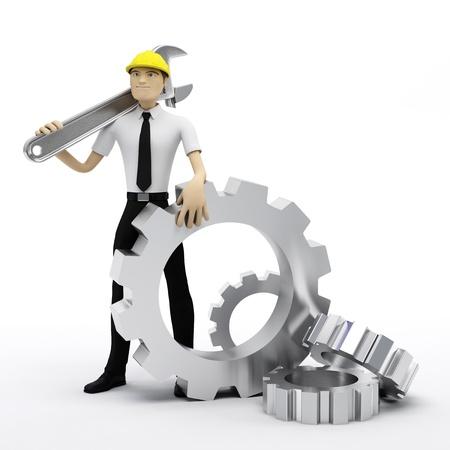 Trabajador industrial con llave y engranajes. Ilustración conceptual. Aislados en blanco