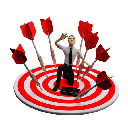 Businassman standing on the archery board. Conceptual business illustration. Isolated on white illustration