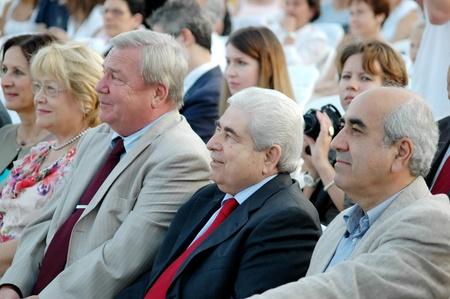 ambassador: LIMASSOL,CYPRUS-JUNE 4: President of Cyprus Dimitris Christofias (center), mayor of Limassol Andreas Christou (right) and Ambassador of the Russian Federation to the Republic of Cyprus Vyacheslav Shumskiy (left) at Cyprus-Russian festival June 4, 2011 in