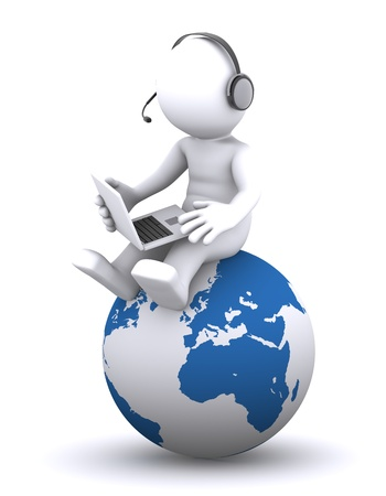 3d character with laptop sitting on the globe. Rendered on white background photo